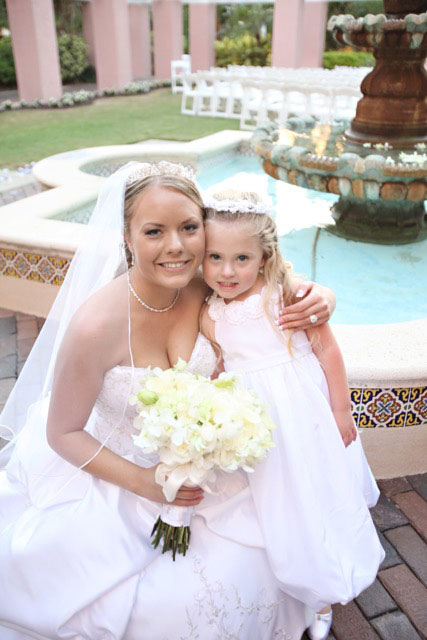 Beautiful Bride with flower girl